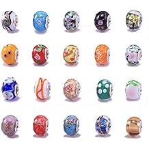 BOOLAVARD 20pc Lot argent verre de Murano Glass Beads Mix européennes - Compatible avec Pandora, Chamilia, Troll, Biagi