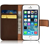 iPhone SE, iPhone 5/5s Lederhülle | JAMMYLIZARD Ledertasche [ Retro Series ] Leder Hülle Flip Case Cover Schutzhülle mit Kartenfach, Braun