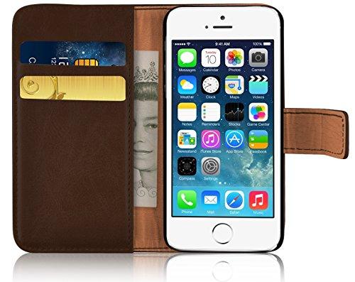 iPhone SE, iPhone 5/5s Lederhülle | JAMMYLIZARD Ledertasche [ Retro Series ] Leder Hülle Flip Case Cover Schutzhülle mit Kartenfach, Grau BRAUN