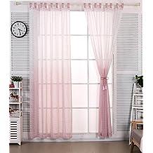 WOLTUR VH5855bd1 Gardine Transparent Mit Schlaufen In Gestreift Leinen Optik Farbverlufen Schlaufenschal Vorhang