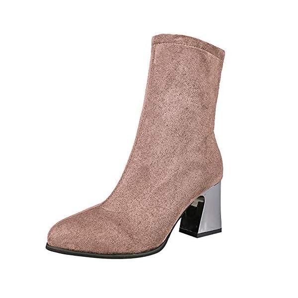 3c07d203b0985 MYMYG Damen Stiefeletten Chelsea Boots Frauen High Heel Schuhe Wildleder  einfarbig Martain Stiefel wies Toe Zipper Schuhe mit Halbhohe Blockabsatz  ...