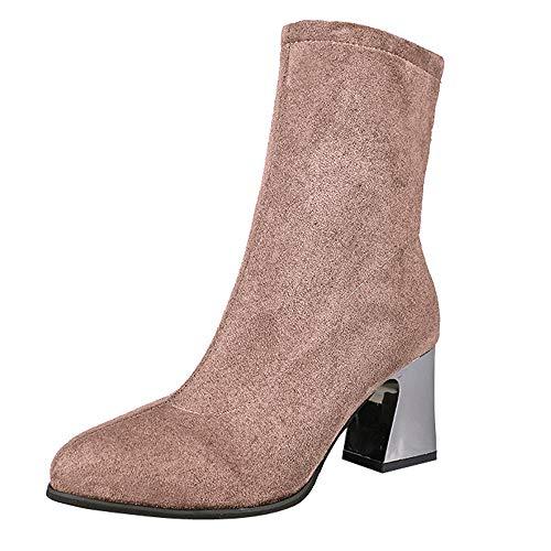 UFACE Damen High Heel Schuhe Wildleder Einfarbig Martain Stiefel Spitz Zipper Schuhe