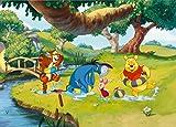 Winnie l'ourson Poster Papier Peint - Tigrou, Bourriquet, Coco Lapin Et Porcinet, Plaisir De Patauger (160 x 115 cm)