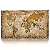 CanvasArts Weltkarte 1601 - Leinwand Bild auf Keilrahmen - Vintage, Grunge Style (150 x 90 cm, Einteilig)