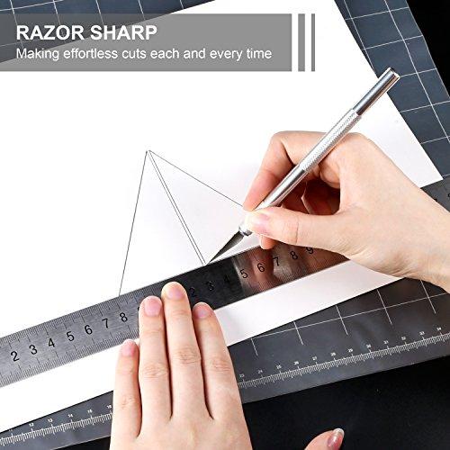 2pcs Cutter di Precisione con 20 Lame di Ricambio, PAMIYO Set Taglierino per Bricolage, Hobbistica, Carta e Auto Vinile, Modellismo, DIY – Tipo 11 - 3