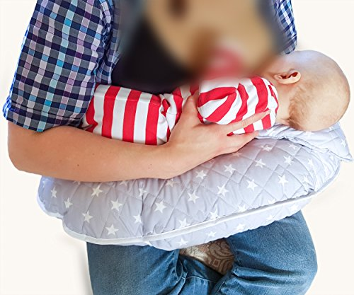 /Único 4/en 1/Premium algod/ón enfermer/ía almohada con Free Mini almohada y beb/é arn/és plateado plata