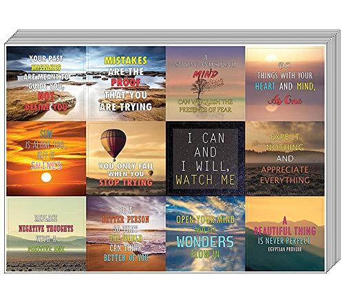 Creanoso inspirierende Mind and Thoughts Sprüche Aufkleber (10 Blatt) - Premium Geschenk-Sticker Collection Set - Reflexionen der Weisheit Sprüche für Erwachsene Männer und Frauen - tolle Sticker