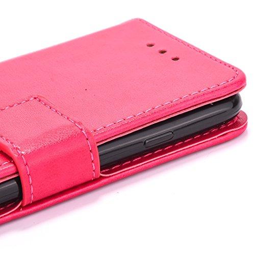 Custodia per Apple iPhone 7 Plus, ISAKEN iPhone 7 Plus Flip Cover con Strap, Elegante Bookstyle Contrasto Collare PU Pelle Case Cover Protettiva Flip Portafoglio Custodia Protezione Caso con Supporto  Roseo
