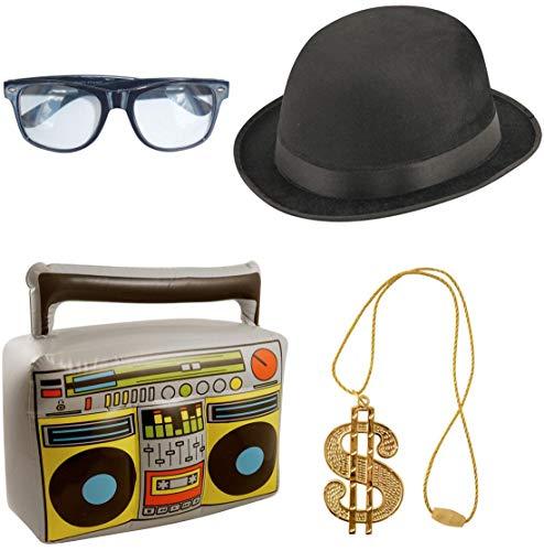 Islander Fashions Unisex Gangster Hip Hop der 80er Jahre Kostüm Outfit Erwachsene Rapper Accessoires (Outfit Der 80er Jahre)