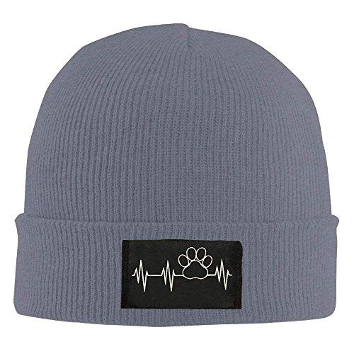fboylovefor Adult Paw Print Heartbeat Winter Acrylic Knit Beanie Hat Skull Cap Acrylic Knit Beanie Cap