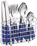 Esmeyer 24-tlg. Besteck JENNIFER aus Edelstahl 18/0, poliert. Farbe: blau, mit ovalem, verchromten Besteckkorb. Im Geschenkkarton.