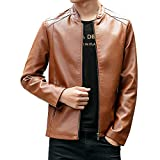 UJUNAOR Männer Winter Langarm Pocket Motorrad Jacke Outwear Bluse Herren Casual Stehkragen Cardigan Top(Khaki,CN 3XL)