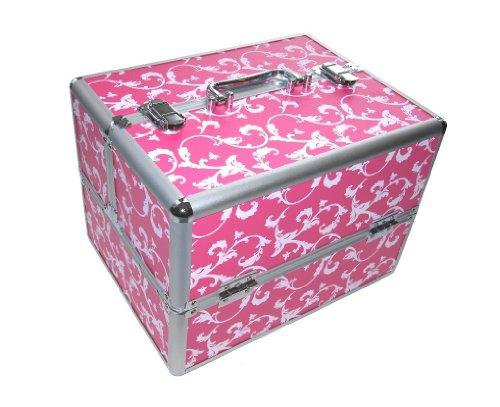 N&BF Profi Kosmetikkoffer Blumen groß 34 x 24 x 26 cm Alu Friseurkoffer Schminkkoffer Multikoffer Nagelkoffer Beautycase 2 Etagen + Fächer leer zum Aufklappen (Pink Weiß Flower)