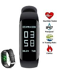 Pulsera Actividad, LiDa Pulsera Inteligente Impermeable Fitness Tracker con Pulsómetros/ Contador de Calorias/Monitor de Sueño/Contador de Pasos/Reloj para Android iOS