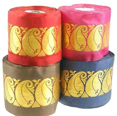 Neotrims Indian Gold Metallic Paisley, Wide Ribbon 55mm. Decorative Ribbon,