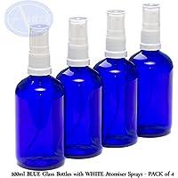 4er-PACKUNG - 100ml BLAUGLAS-Flaschen mit weiß Sprüh-ZERSTÄUBERN. Ätherisches Öl / Verwendung in Aromatherapie preisvergleich bei billige-tabletten.eu