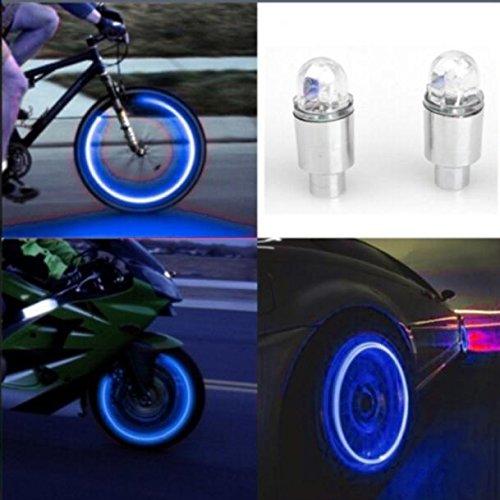 gaddrt Autozubehör Fahrradzubehör Neon Blau Strobe LED Reifen Ventilkappen-2PC (Blau)