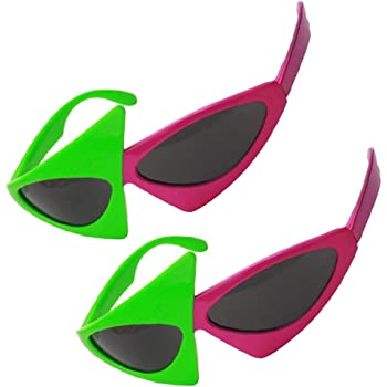 128f7e8fb2 Fenteer 2 Pieces Novelty Roy Purdy Glasses Red Green Triangle Cocktail  Sunglasses