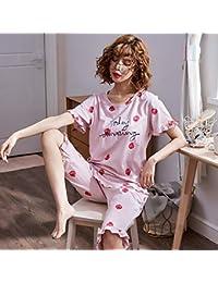 Jeaqw Home Fresas Damas Pijamas Verano algodón de Manga Corta Recortada algodón Ropa Casual Fuera del