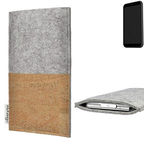 flat.design Handy Hülle Evora für Shift Shift6mq handgefertigte Handytasche Kork Filz Tasche Case fair grau
