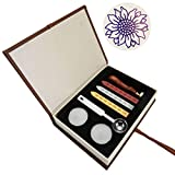 Mogoko Sigillo + 3*Ceralacca + Cera + Cera Stick Spoon Francobolli Vintage Kit per Lettera Personalizzata Timbri Personali IL MIGLIORE REGALO SET-Girasole
