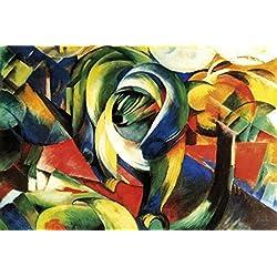 1art1 50874 Franz Marc - Der Mandrill, 1913 Selbstklebende Fototapete Poster-Tapete 180 x 120 cm