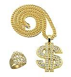 Panelize® BABO Lude Macho Prolethen Hiphop Rapper Strass Set Dollar-Zeichen Ring und Kette