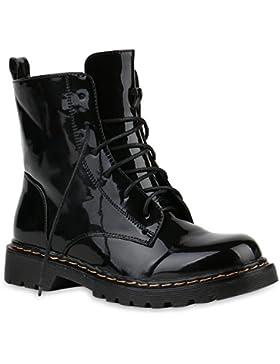 Stiefelparadies Damen Stiefeletten Worker Boots Profilsohle Flandell