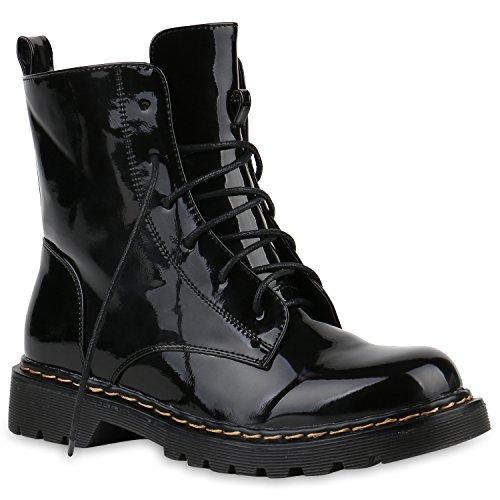 Stiefelparadies Damen Worker Boots Stiefeletten Booties Lack Knöchelhohe Stiefel Boots Profilsohle Schuhe 145212 Schwarz Metallic 38 Flandell