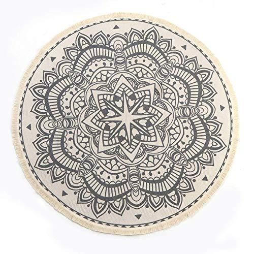 SHACOS Runde Teppiche Baumwolle mit Quasten,handgewebte schicke böhmische Mandala Bedruckte Muster-Baumwollteppich 120x120cm waschmaschinenfest,Ideal für Wohnzimmer,Schlafzimmer usw. - Natur-badezimmer-teppich