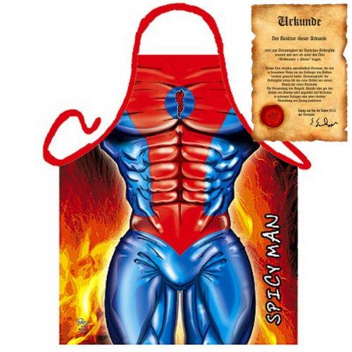 kunde - Superheld Spicy Man - Lustige Motiv Schürze als Geschenk für Grill Fans mit Humor - NEU mit gratis Zertifikat (Superhelden-ostereier)