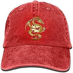 Sombrero de Camionero Gold Dragon Denim Hat Ajustable Unisex Snapback Gorras de béisbol