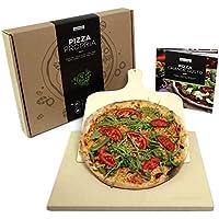 #benehacks® Piedra Pizza ideal para Horno y Parrilla - Hornea Pizza, Pan y pasteles - Set de tres piezas incluye: Recetario y Paleta de madera de pino