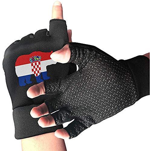 c-sky Frauen Männer tragen Kroatien Flagge halbe Fingerhandschuhe Gym Handschuh