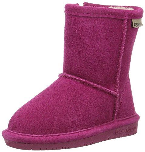 Bearpaw Mädchen Emma Toddler Zipper  Kurzschaft Schneestiefel, Pink (Pom Berry 671), 24 EU (8 US) - Pom Pom Flache Stiefel
