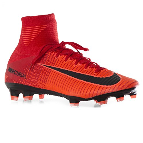 Nike Mercurial Superfly V FG Herren Fußballschuh, Herren, Schwarz/Rot, 42,5 EU