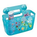 mDesign panier de douche pour enfants – le rangement douche idéal pour shampooing, éponges, jouets et Cie – etagere de douche – en plastique robuste – aqua/transparent