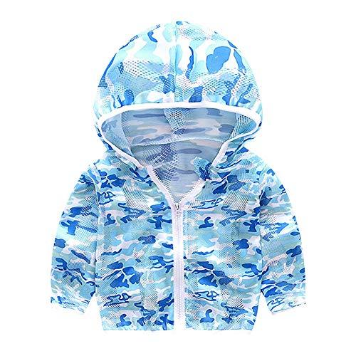 Unisex Kinder UV/Sonnenschutz Hoodie Baby Sonnencreme Jacke Kinder Quick Dry Ultradünne Jacke für Kleinkinder Jungen Mädchen(90-Blau)