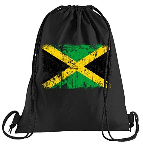 T-Shirt People Jamaika Vintage Flagge Fahne Sportbeutel - Bedruckter Beutel - Eine schöne Sport-Tasche Beutel mit Kordeln
