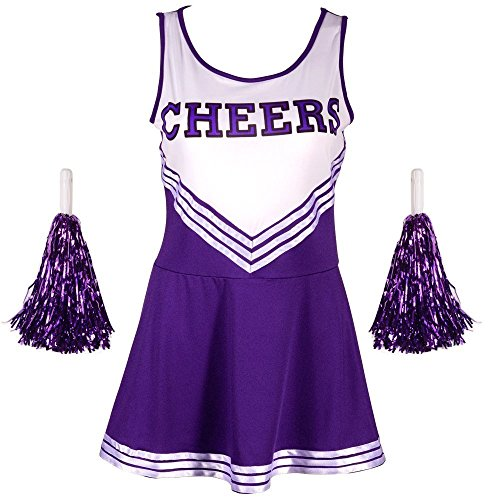 Damen Mädchen Cheerleader Cheerleading Kostüm Uniform Karneval Fasching Party Halloween Kostüm Kleid Minirock mit 2 Pompoms Lila XS