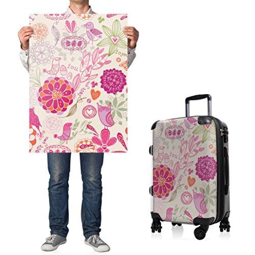 """HAUPTSTADTKOFFER® · Hartschalenkoffer Handgepäck Koffer Trolley Reisekoffer Hartschale · Serie """"Style"""" (Retro Sommer Strand) I Love Muster Rosa"""