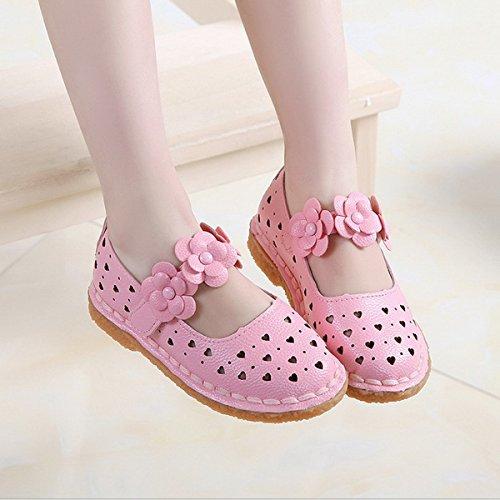 Ahatech Chaussures Fille Princesse Ballerines Sandales Ete Velcro Plates Cérémonie Mariage à Fleurs Rose