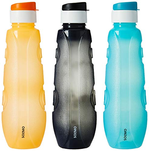 Solimo Plastic Water Bottle Set With Flip Cap (Set Of 3, 1L