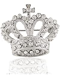 idealway Elegant Women's Grils Crown Brooch Pin Shinning Austrian Element Crystals Silver Plated Brooch Clothes Decoration