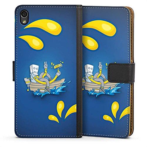 DeinDesign Tasche kompatibel mit Sony Xperia M4 Aqua Leder Flip Case Ledertasche Boot Wasser Water - Aqua Leder Boot