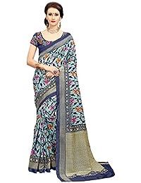 Glory Sarees Cotton Saree With Blouse Piece (zarna12_Blue_Free Size)