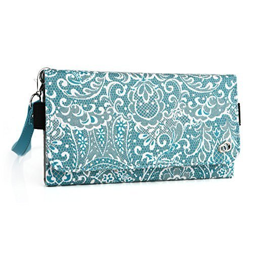 Fashion wallet case (Bohemian Blue) multi purpose organizer ( ID holder, coin purse, phone pocket) fits: Alcatel One Touch Pop Icon, Alcatel One Touch Pop S7, Alcatel One Touch Pop Star 3G
