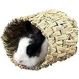 ZuckerTi Neue Natürliches handgewebter Essbar Gras Bett Spielzeug Grashaus Weidentunnel Matte Hütten für Pet Kleintier Bunny Maus Meerschweinchen Kaninchen Nager Nagerhaus Zwerg Hamster
