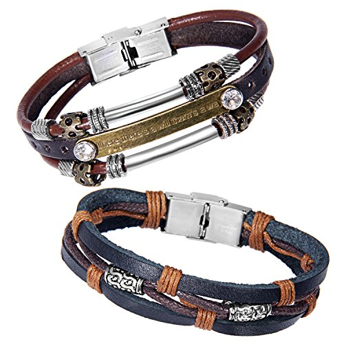 zhenhui-vintage-multi-stands-wristband-brown-black-leather-mens-bracelets-with-stainless-steel-clasp