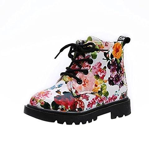 Kinder Schuhe, FEITONG Blumen Stiefel Baby Martin Stiefel Casual Outdoor Schuhe (30, Weiß) (Golfschuhe Kinder 30)